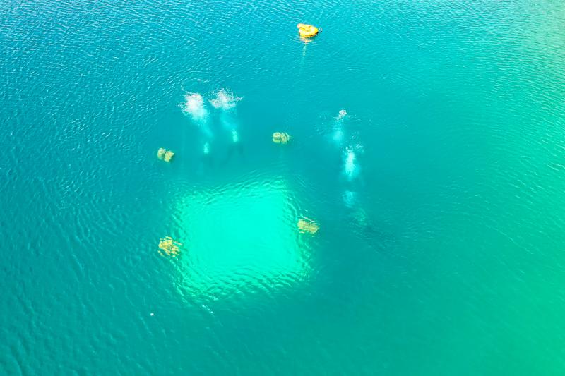 Luftbild Tauchausbildung im Murner See