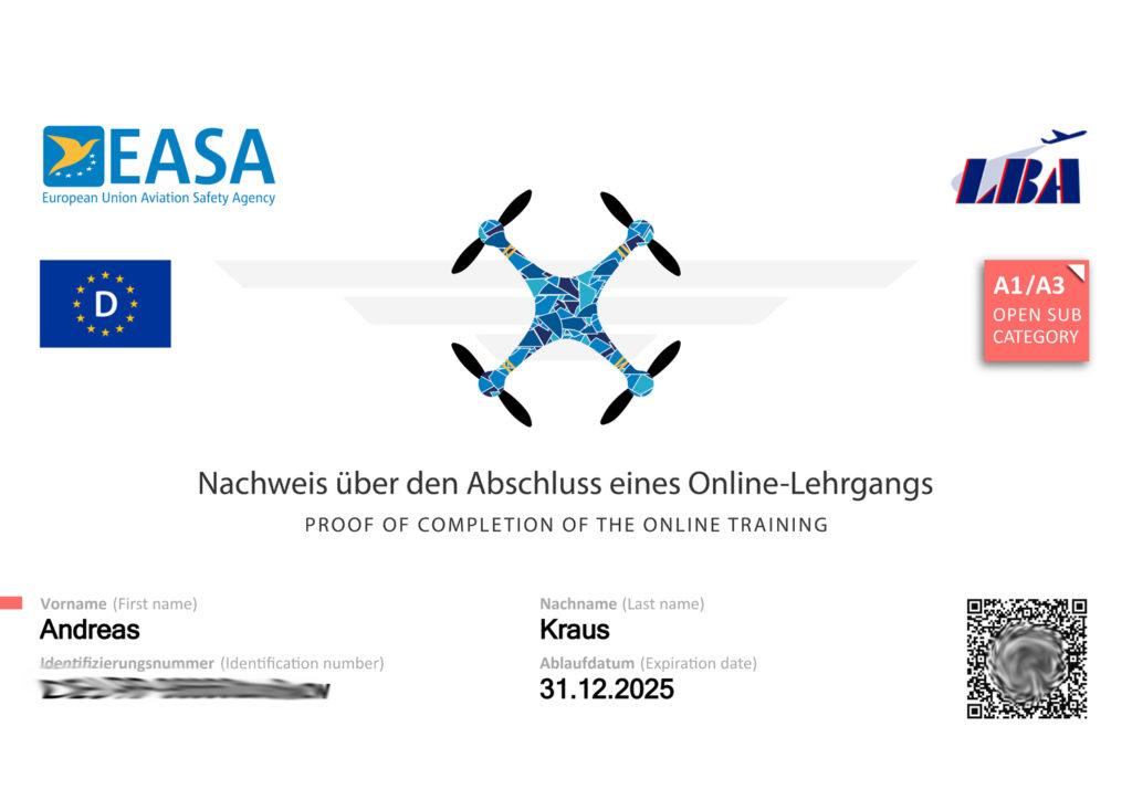 Nachweis Fernpilotenprüfung A1/A3